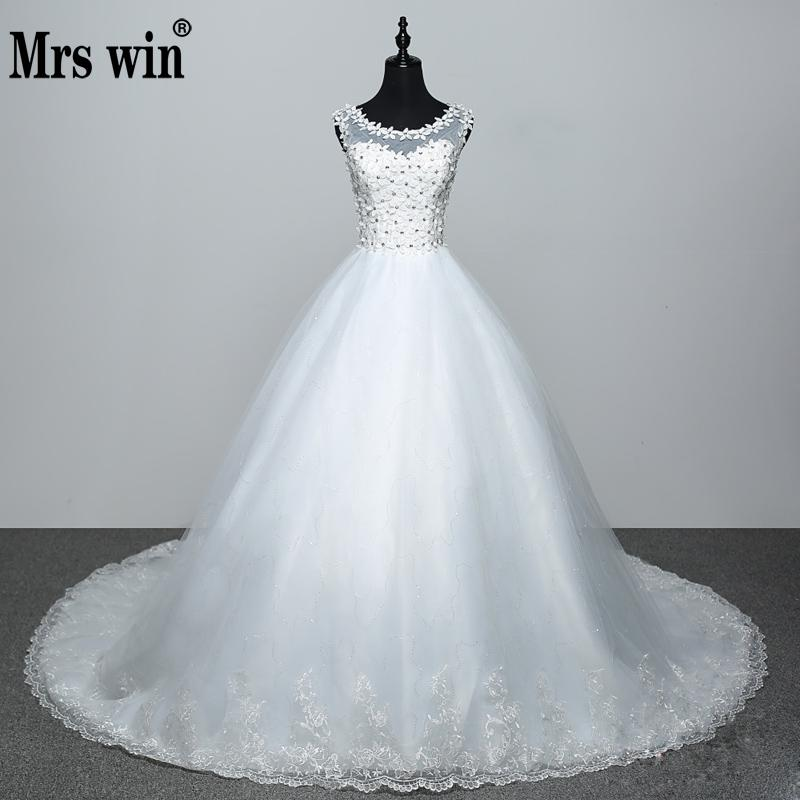 2020 New Applicue Long Train Wedding Dress Flower Lace See Through Sexy Bridal Gowns Vestido De Noiva Princesa