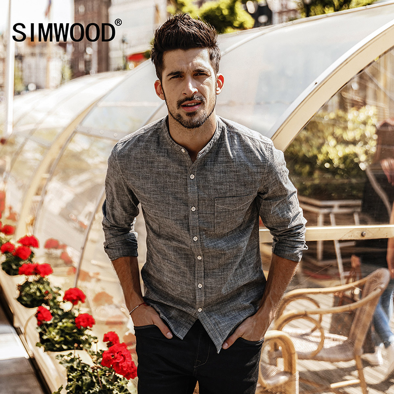 SIMWOOD 2019 Men Shirt spring New Camisa Masculina Casual Shirts Slim Fit 100% Cotton Stand Collar Male High Quality CC017009