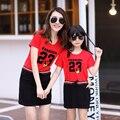 Estilo de la familia Conjunto Madre Hija de Algodón Vestidos de Madre e Hija de Ropa Ropa de la Familia del Padre-Niño Establece Rojo, Vestido blanco TT08