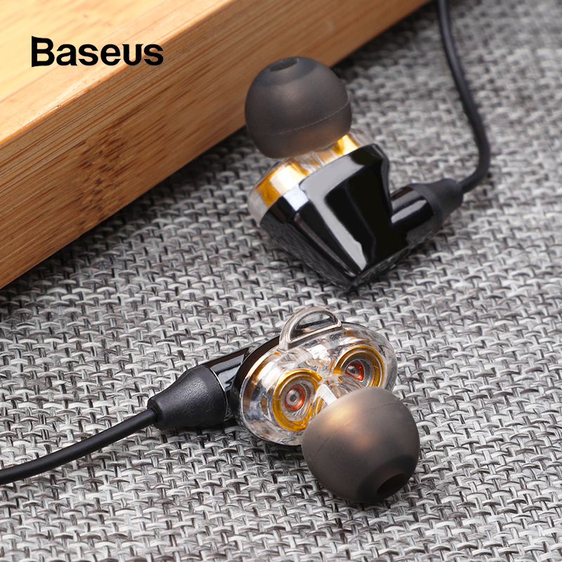 Baseus 3.5mm Wired Earphone With Mic Double Dynamic In-ear Earbuds Earphones With Microphone For Samsung iPhone 6 6s Smartphone headset earphone in ear headphone earbud control with mic for iphone 6 6s samsung galaxy s6 xiaomi earphone smartphone