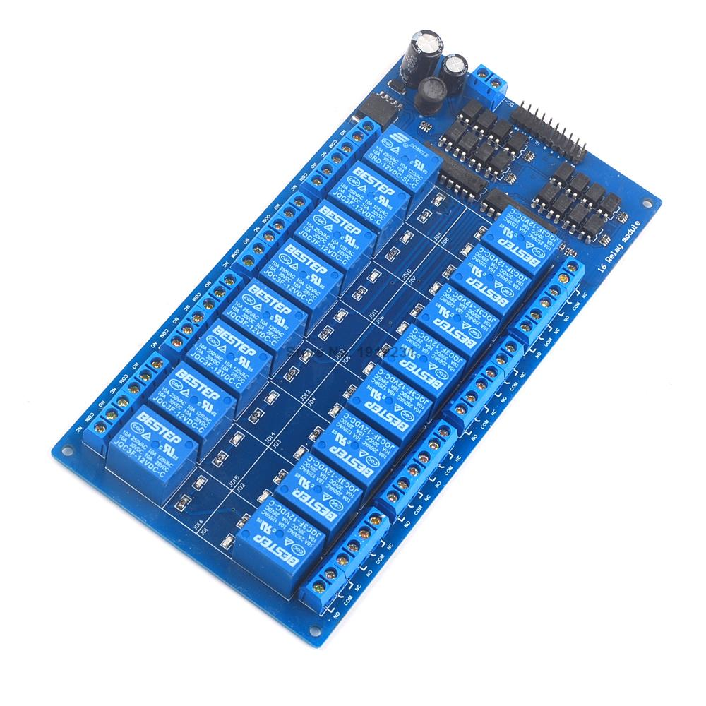 16 Canal 12 V Módulo de relé con optoacoplador alimentación ARM DSP