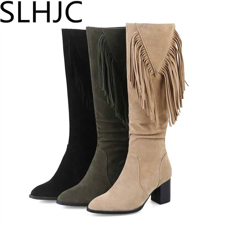 SLHJC 2017 Autumn Winter Long Knee-High Heels Tassel Fringe Boots Women Square Heel 6.5 CM Pointed Toe Side Zipper Matte Leather fashion autumn and winter style flock leather women fringe flat heels long boots woman keep warm tassel knee high boots