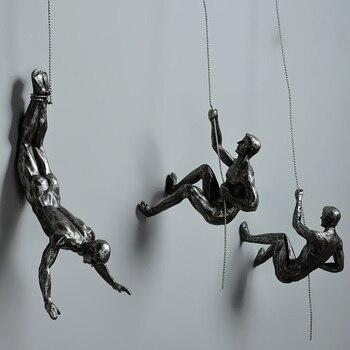 Промышленный стиль скалолазание человек Смола железная проволока Настенный декор скульптурные фигуры креативный Ретро подарок декоратив...