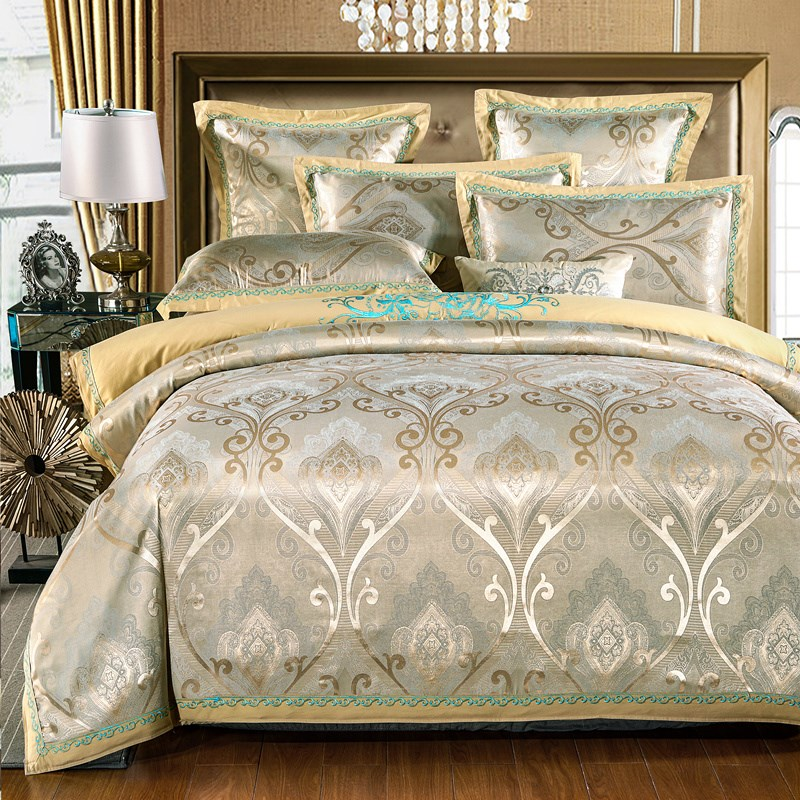 ผ้าไหม/ผ้าฝ้ายลินิน Queen King Size 4 pcs ชุดเครื่องนอน Jacquard ผ้านวม + แผ่นเรียบ + ปลอกหมอน-ใน ชุดเครื่องนอน จาก บ้านและสวน บน   2