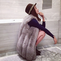 Fox fur winter fur coats 2018 Womens new vest long sleeveless women fausse fourrure Black Faux fox fur vest Padded jackets