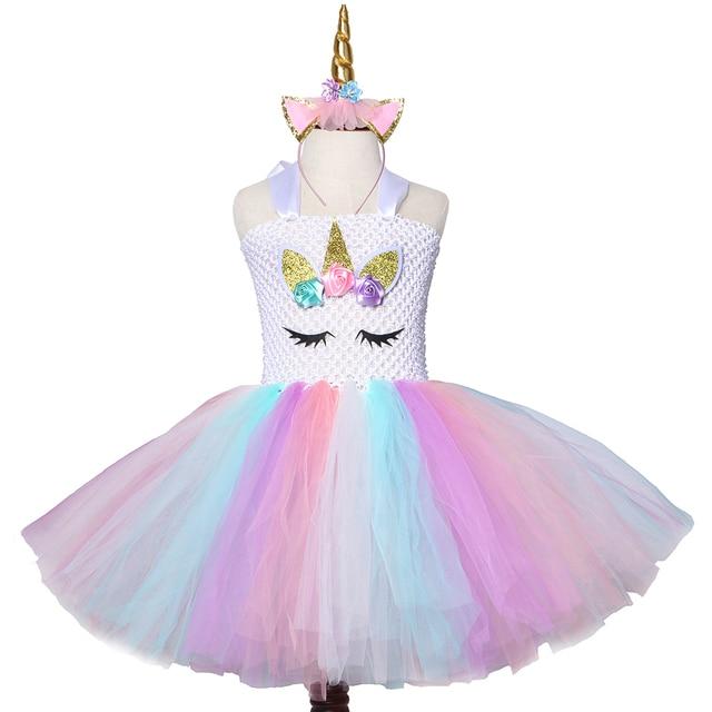 Halloween Kleider Fur Kinder.Pastell Einhorn Kleid Madchen Tull Blumen Tutu Kinder Geburtstag Party Kleider Cosplay Halloween Kostum