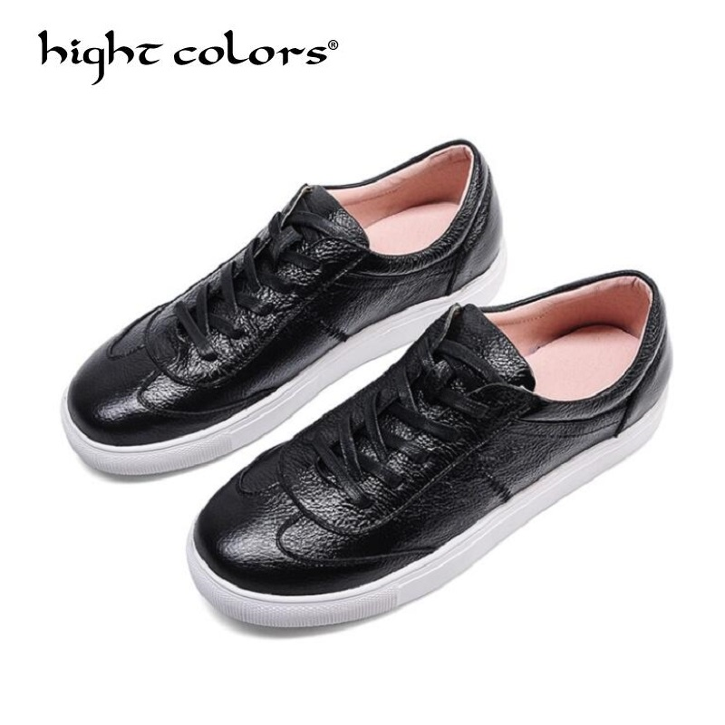 Female Street Beat Women Flats Platform shoes Soft Leather Lace up fashion Low Top Casual Shoes Ladies White Shoes For Women