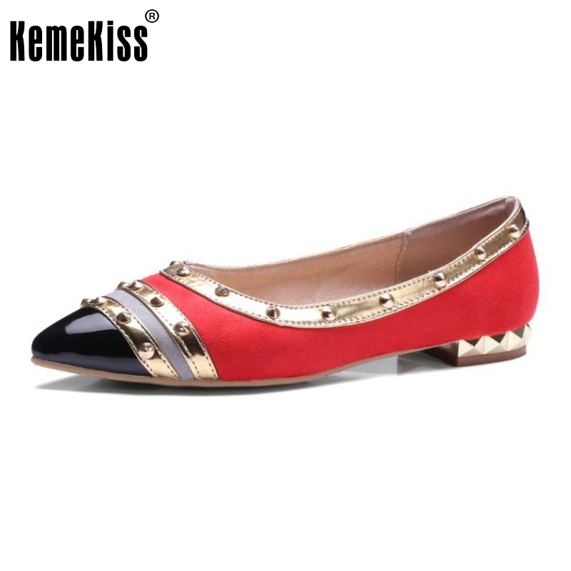 Size 30-43 Fashion Ladies Flat Shoes Women Mixed Color Riviets Flats New Design Pointed Toe Slip On Leisure Women Shoes women fashion bow pointed toe slip on girls flats ladies casual breathable ballerinas shallow flats women flat students shoes