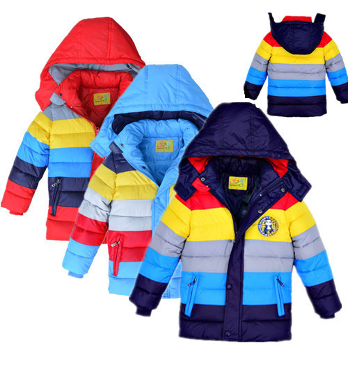 New Retail 2015 winter boys outerwear, hooded boys coat,striped fashion children winter jackets,children outerwear & coats