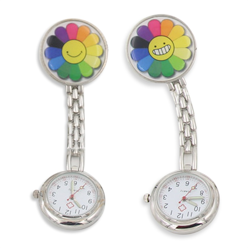 protable nurse watches with clip red cross brooch pendant pocket hanging doctor nurses medical quartz watch lxh Clip-on Design Pendant Nurse Watch Man Women Red Cross Brooch Nurses Watch Colorful Sunflower Smile Laugh Face Pocket Watches