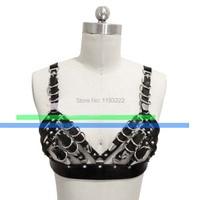 Lolita Sexy Punk Rock Party Handmade Heavy Metal Bra Chest Top Body Bondage Cage Frame Harness Bel Straps