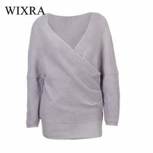 Wixra Warm and Charm Sexy Thick Loose V neck Pullovers and Sweaters Women Autumn Winter Elegant Retro Batwing Sleeve Gray Jumper