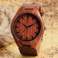 Sport Bamboo Fashion Genuine Leather Band Strap Cool Men Bangle Wrist Watch Casual Minimalist Women Gift