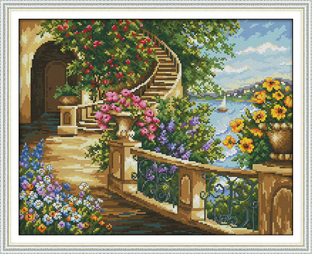 Spring Balcony Cross Stitch Kit Aida 14ct 11ct Count Print Canvas Cross Stitches   Needlework Embroidery DIY Handmade