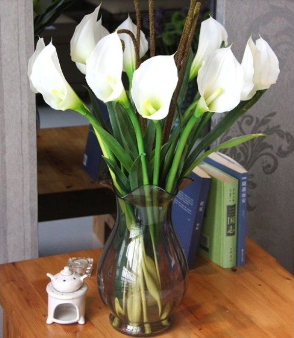 6pcs Lot Real Touch Artificial Pu Leather Calla Lilies Flowers White Color Home Decor Wedding Bouquets In Dried From Garden On