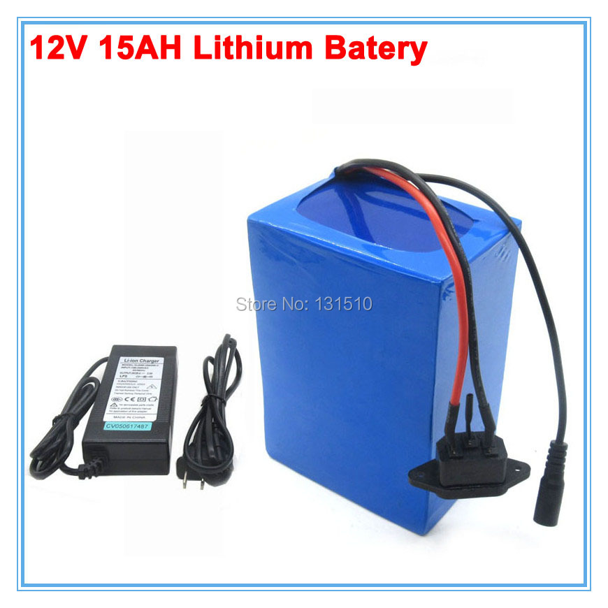 Wholesale 10pcs/lot 150W 12Volt <font><b>lithium</b></font> <font><b>battery</b></font> <font><b>12V</b></font> <font><b>15AH</b></font> with 12.6V 3A Charger for LED Light / Bicycle <font><b>battery</b></font> Scooter <font><b>battery</b></font> image