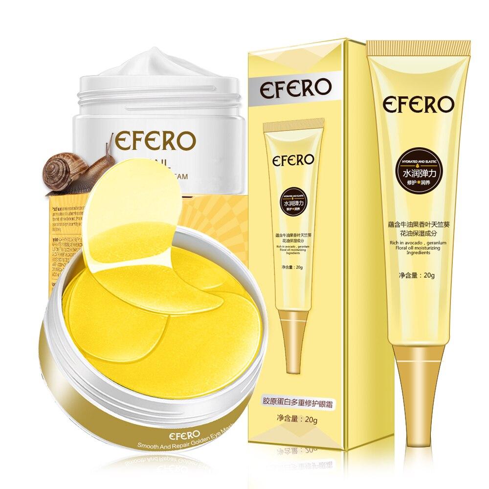 3Pcs EFERO Snail Essence Face Cream Anti Aging Wrinkle Moisturizer Eye Cream Dark Circles Eye Mask Patch Women Men Skin Care Set