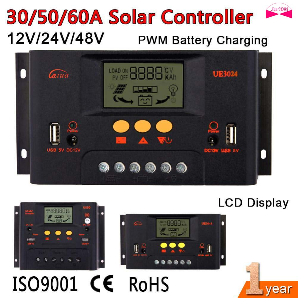 <font><b>PWM</b></font> <font><b>30A</b></font>/50A/60A <font><b>Solar</b></font> <font><b>Controller</b></font> 12V 24V 48V LCD Display USB 5V DC 12V <font><b>Solar</b></font> Panel Battery <font><b>Charge</b></font> Regulator Safe Protection image
