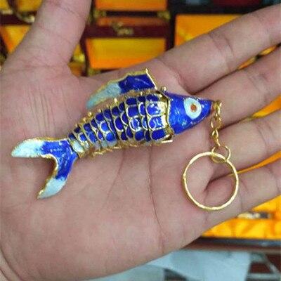 Эмаль 7,5 качели животное Золотая Рыбка брелок рыба брелки китайская перегородчатая эмаль брелки для ключей автомобиля сумка аксессуары этнический подарок - Цвет: carp blue