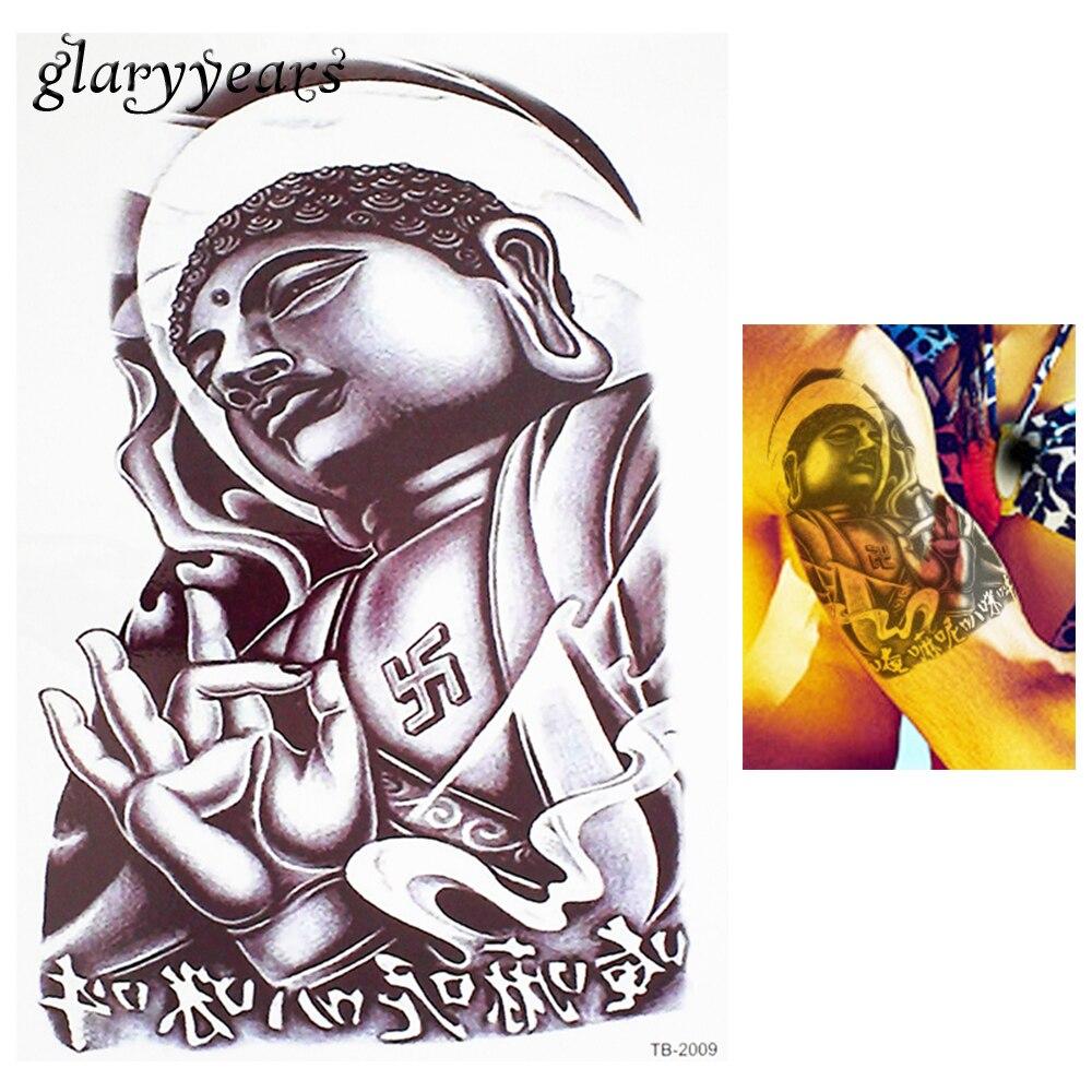 1 Piece Temporary Tattoo Sticker Water Transfer Wing: 1 Piece Flower Arm Body Art Decal Tattoo Sketch Buddha