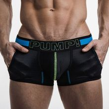 2 Pieces PUMP! Brand mens underwear boxers Mesh Men Boxer shorts Cotton Body Trunks Sexy mesh Gay Penis pouch Mesh Cup panties