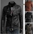 Men Motorcycle Leather Jacket Slim Casual Zipper Jaqueta De Couro Masculina PU Leather Coat