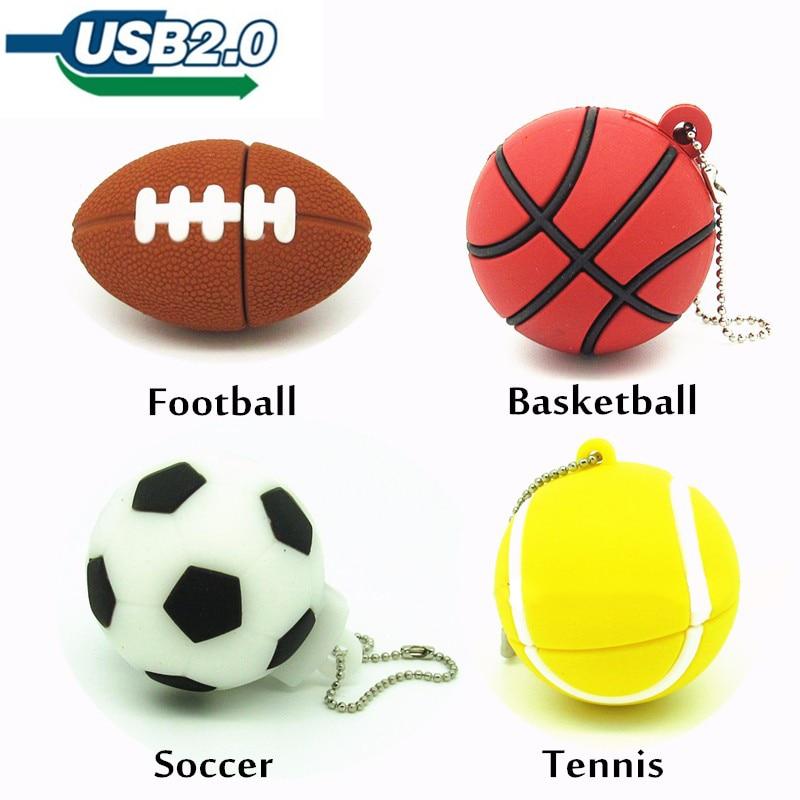 Sports Ball Usb Flash Drive Football And Basketball Pendrive  4g 8g 16g 32g Usb Stick  Silicone Sports Ball Pend Rive USB 2.0