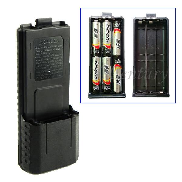 bilder für 3800 mah 6xaa batterie fall shell schwarz für tragbares radio two way transceiver walkie talkie baofeng uv-5r uv-5re plus tyt th-f8