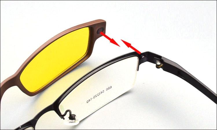 Eyeglasses With Magnetic Sunglass  new eyeglasses frame magnet clip optical frame 2 polarized clips