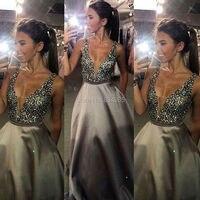 2017 Prom Dresses A Line Party Dresses Sexy V Neck Sleeveless Vestido De Festa Beading Long