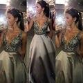 2017 Prom Dresses A Line Party Dresses Sexy V Neck Sleeveless Vestido De Festa Beading Long Prom Dress Fashion Formal Gowns