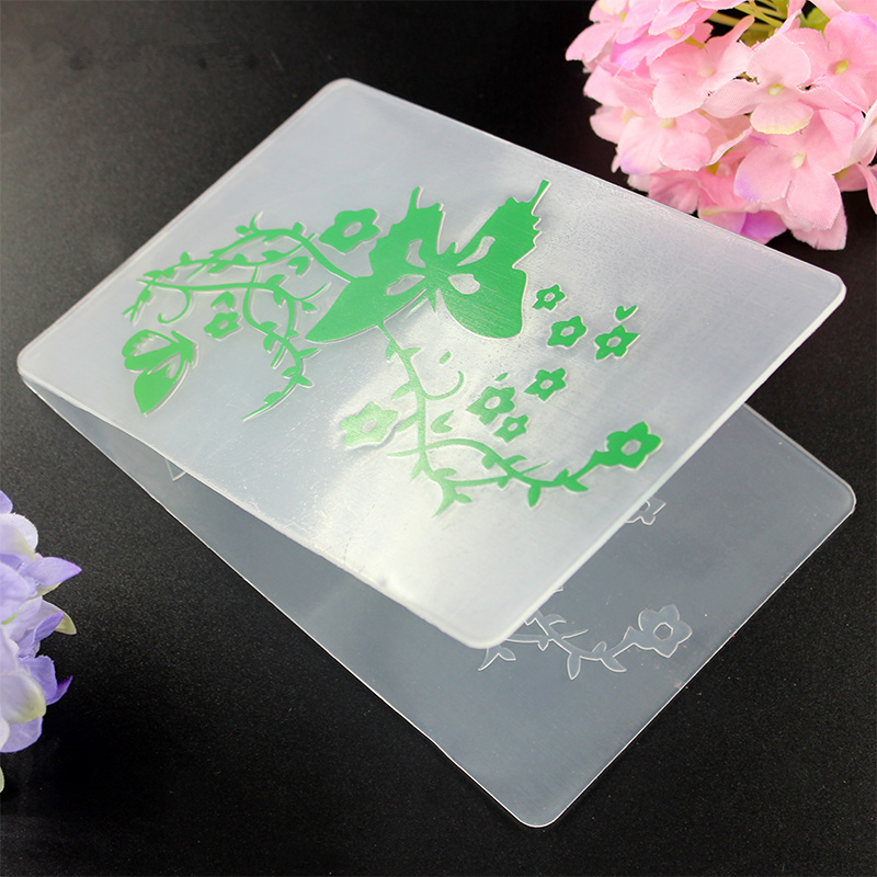 YLEF022 Butterfly Plastic Embossing Folder For Scrapbook Stencils DIY Album Cards Making Decoration Template Mold 10 5 14 5cm in Embossing Folders from Home Garden