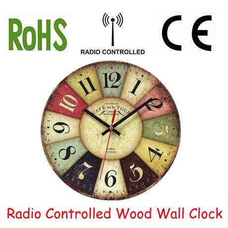 DCF77 RCC Wooden Wall Clocks Funkuhr Quartz MDF 10inch Quartz Paris Wall Clocks RetroDCF77 RCC Wooden Wall Clocks Funkuhr Quartz MDF 10inch Quartz Paris Wall Clocks Retro