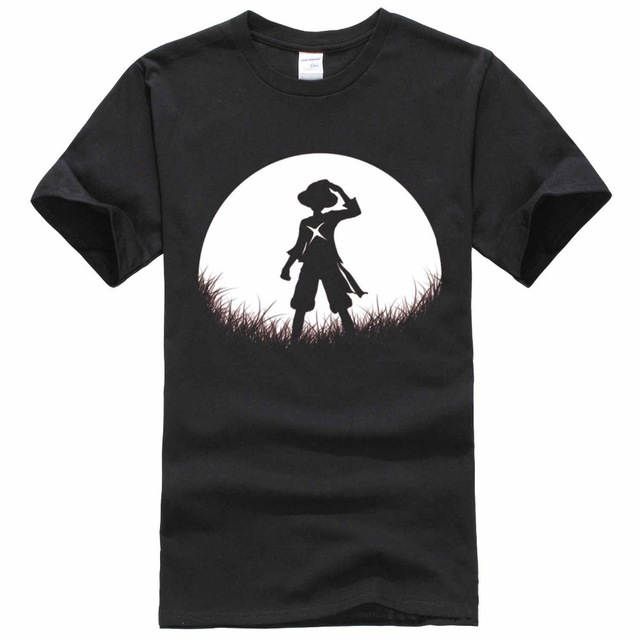 Top Quality Red Moon Straw Hat Luffy T Shirt O-Neck Popular One Piece Luffy T-Shirt Cotton Shirt