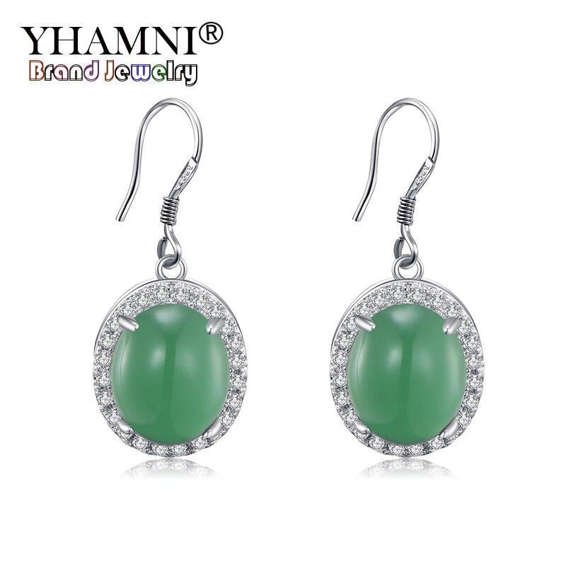 YHAMNI Original naturel vert Malay pierre boucles d'oreilles 100% 925 en argent Sterling boucle d'oreille CZ Zircon bijoux cadeau pour les femmes ZE454