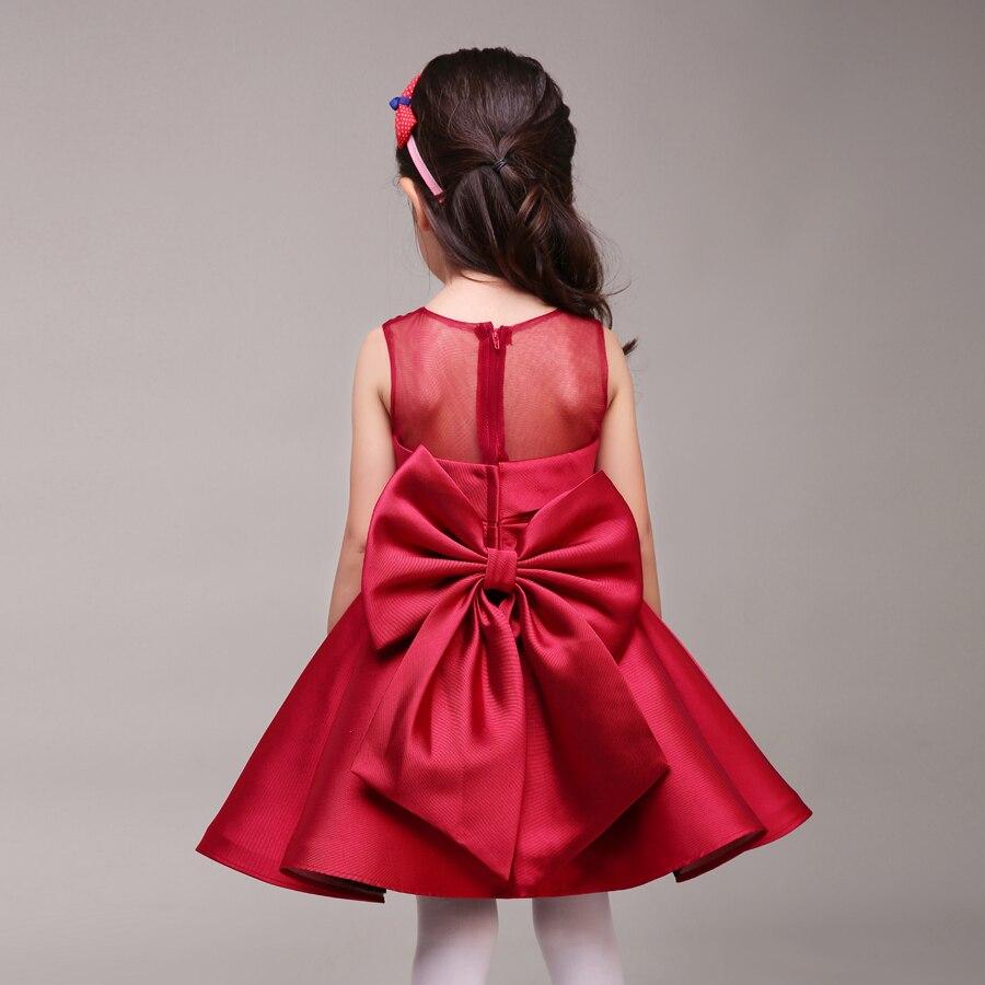 d90743d93 Rojo oscuro del Tafetán Niña Vestido Con Arco de Cuello Redondo Corto Kids  Formal Vestido Para Las Bodas de Tamaño Personalizado en Vestidos de flores  de ...