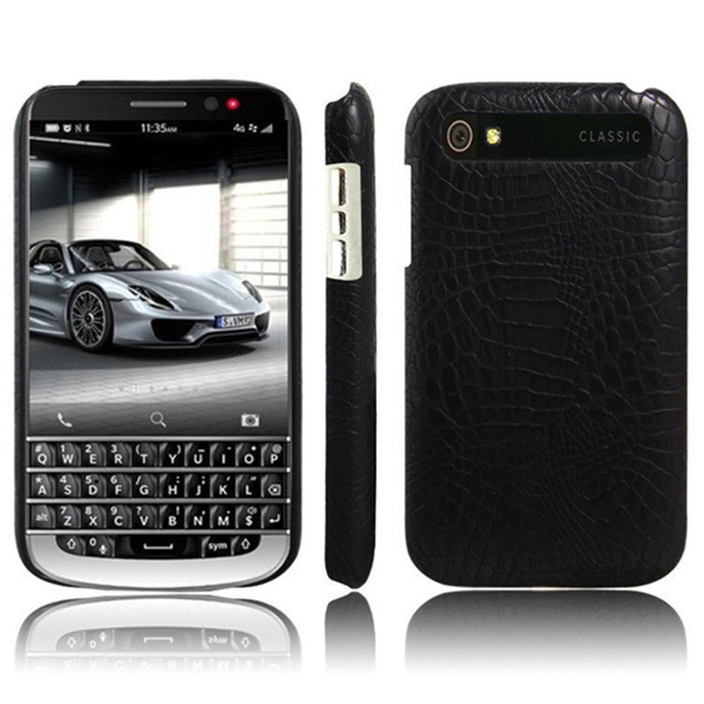 For Blackberry Q20 Case Classic 35 Inch Pu Leather Black Luxury Crocodile Skin Hard Back Cover Shockproof