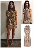 Top Quality Celebrity sleeveless Gold Stain Bodycon Dress Evening Party Bodycon Dresses