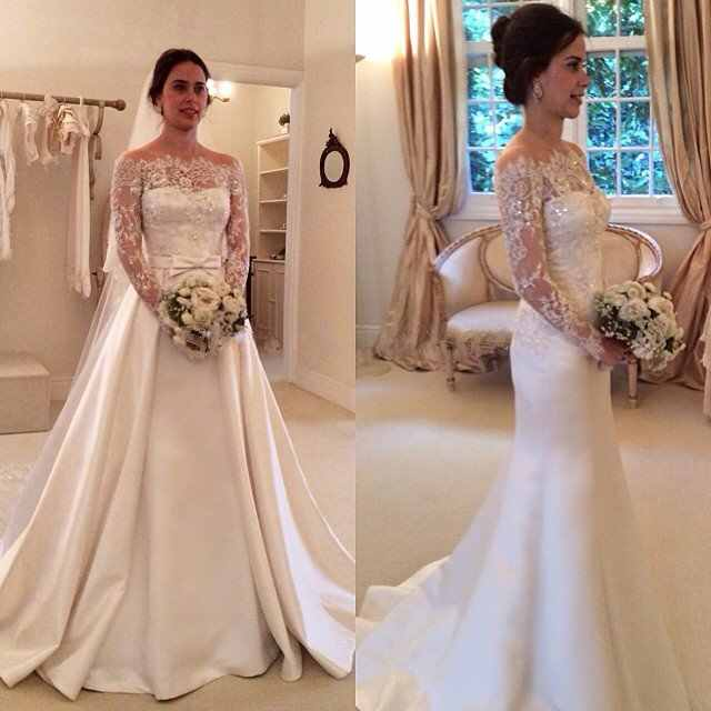 Off the Shoulder Satin Wedding Gown Lace Sleeves  Detachable Skirt Wedding Dresses 2 in 1