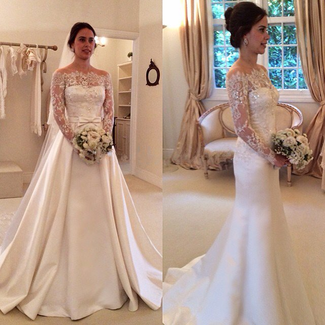 Off the Shoulder Satin Wedding Gown Lace Sleeves Detachable Skirt ...