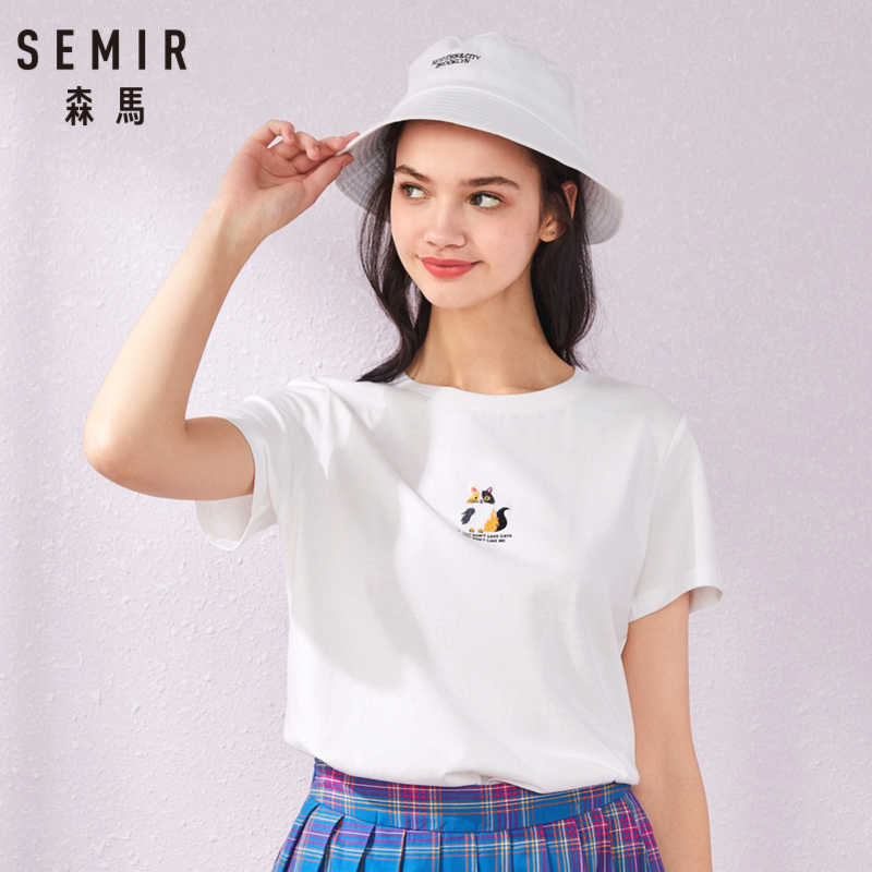 SEMIR de manga Curta T-shirt 2019 das mulheres verão nova impressão bordado branco assentamento Coreano tshirt menina camiseta de algodão top t
