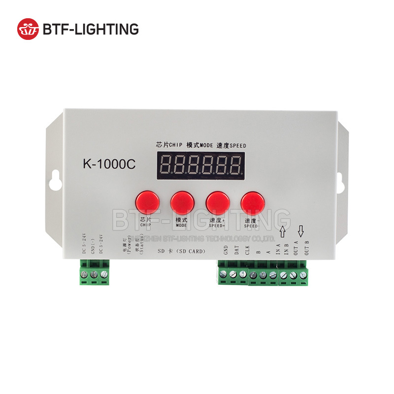 Wholesale K-1000C (T1000S Update) SD Card Control 2048 Pixels Controller Full Color For WS2812B LPD8806 6803 WS2811 WS2801 5-24V