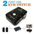 Portable USB 2.0 KVM 2 Portas VGA Selector de Impressão Auto Switch Box Controlador 1920*1440