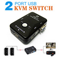 Portable USB 2.0 KVM de 2 Puertos Selector VGA Impresión Cambiar Auto Caja Del Controlador 1920*1440
