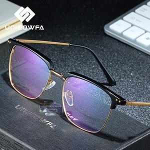 Image 2 - Unieowfa Semi Randloze Retro Optische Brilmontuur Mannen Clear Bijziendheid Bril Frame Koreaanse Vintage Prescription Brillen Frame