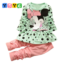 Children's set 2018new spring autumn fashion baby girls cartoon suit falbala long-sleeved dot T-shirt + pure color bowknot pants
