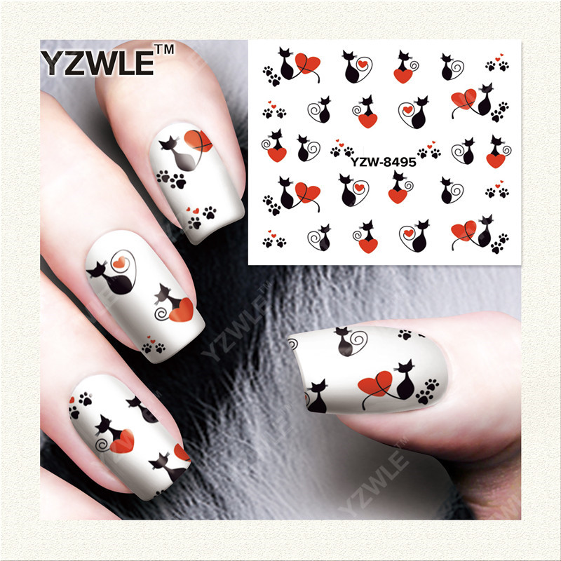 YZWLE  1 Sheet DIY Designer Water Transfer Nails Art Sticker / Nail Water Decals / Nail Stickers Accessories (YZW-8495) yzwle 1 sheet diy designer water transfer nails art sticker nail water decals nail sticker accessories yzw 8196