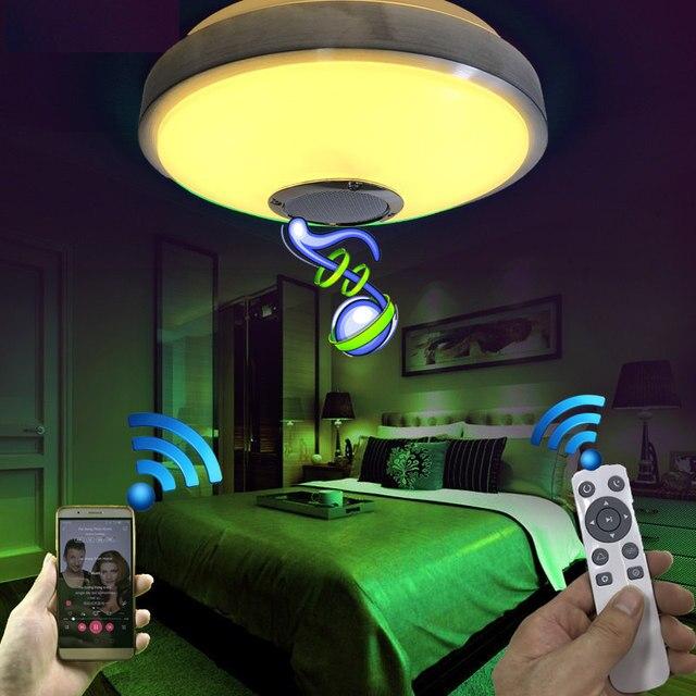 Moderne Led Deckenleuchte Mit 2,4G RF Fernbedienung Dimmbar Smart Bluetooth  Lautsprecher Musik Spielen