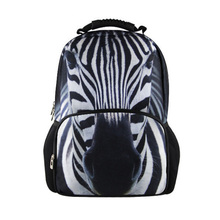 New fashion 3D zebra printing casual backpack bag graffiti sprayed pictures Hot student knife package for women men girl free