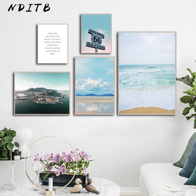 Tropical Coastal Beach Landscape Picture Scandinavian Poster Canvas Wall Art Print Painting Motivational Quotes Nordic Decoation